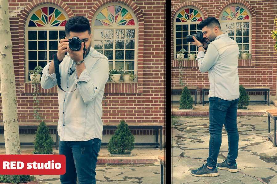 دست گرفتن دوربین عکاسی در حالت ایستاده