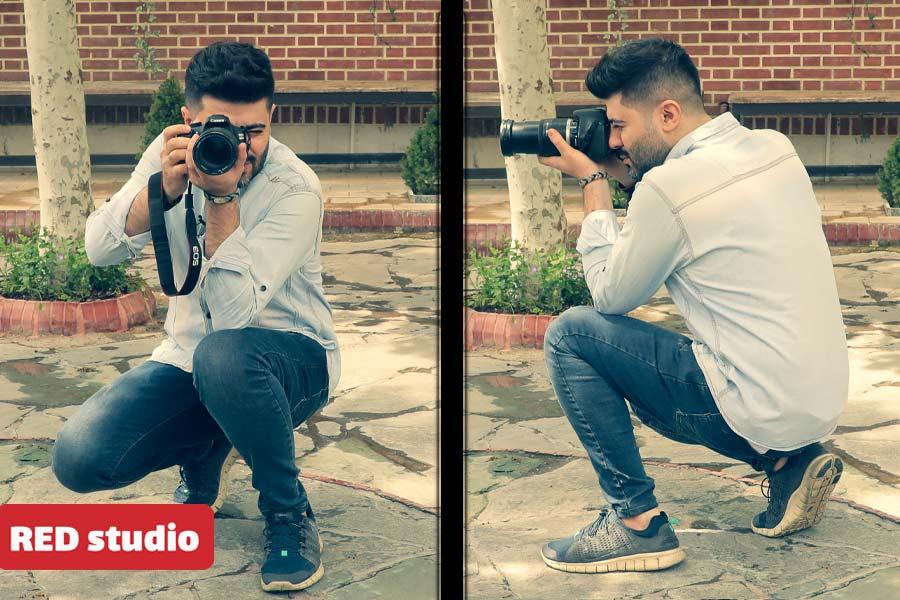 طرز گرفتن دوربین عکاسی در حالت نشسته